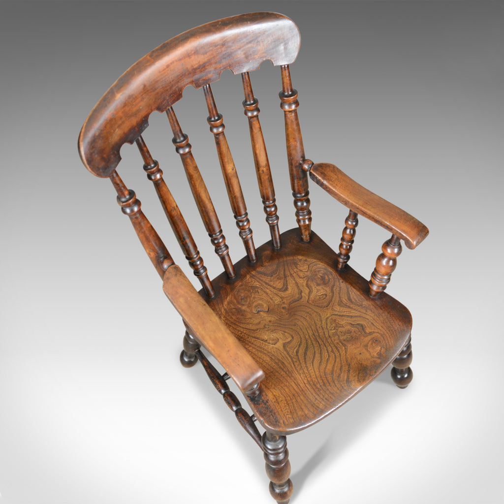 Antique Elbow Chair English Victorian Stick Back