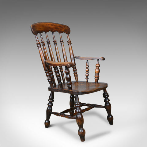 Antique Elbow Chair, English, Victorian, Stick Back Windsor, Elm, Circa 1880 - London Fine Antiques