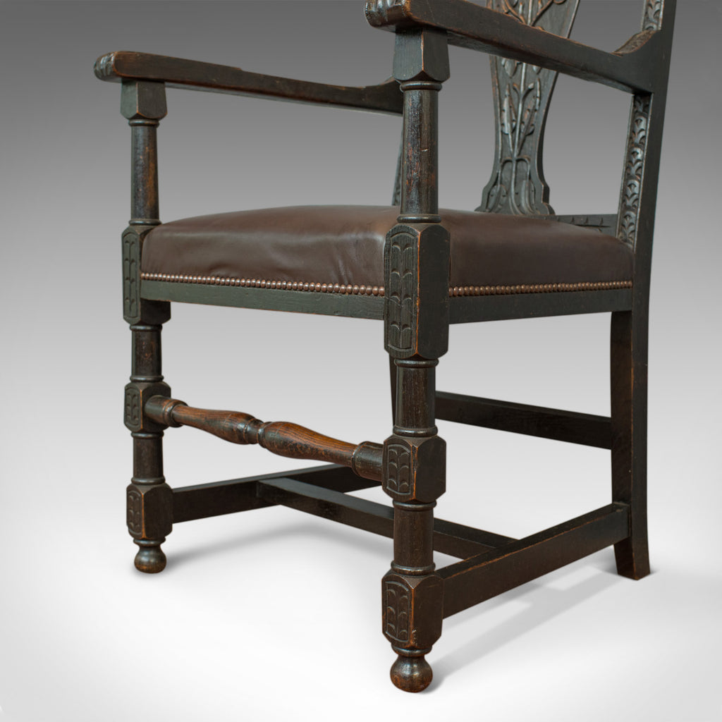 Antique Elbow Chair, Victorian, Oak, Leather, Carver ...