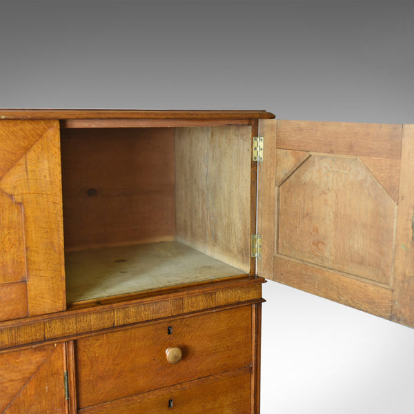 Large Antique Estate Manager's Cupboard, Oak, English, Victorian, Cabinet c.1880