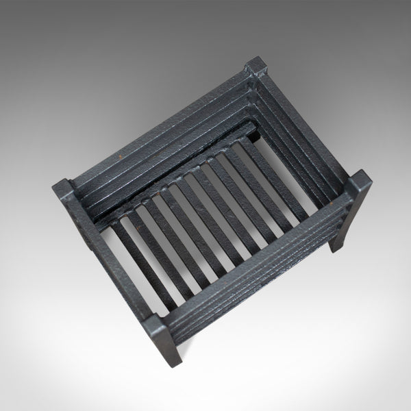 Small Antique Fire Basket, English, Iron, Fireplace Grate, Circa 1900