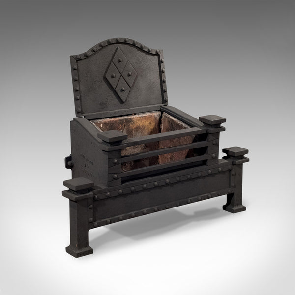 Antique Fire Basket, English, Victorian, Free Standing, Cast Iron Grate, c.1900 - London Fine Antiques