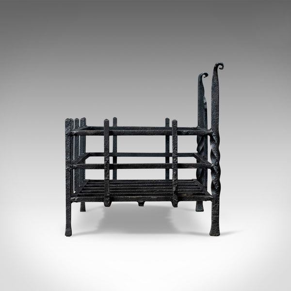 Antique Fire Basket, Gothic, Free Standing, Forged Iron, Fireplace Grate c.1900 - London Fine Antiques