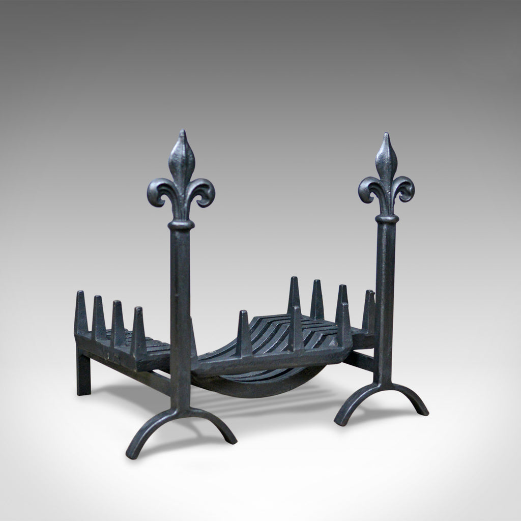Antique Fire Basket, Grate, Dogs, Andirons, English, Victorian, Fireplace c.1900 - London Fine Antiques
