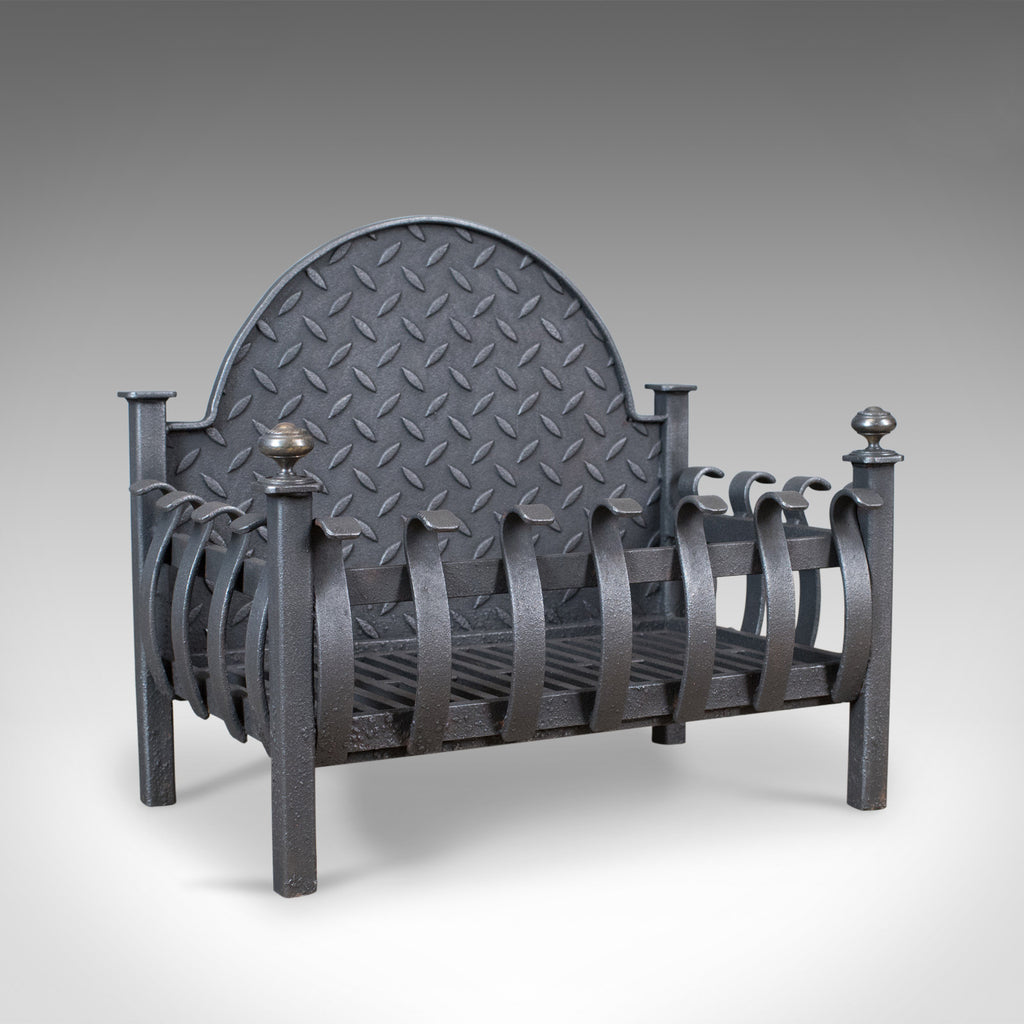 Antique Fire Basket, Victorian Fireplace Grate, English Circa 1900 - London Fine Antiques