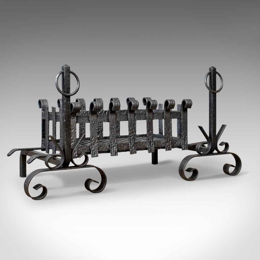 Antique Fire Basket on Andirons, Fire Dogs, English, Fireplace Grate c.1900 - London Fine Antiques