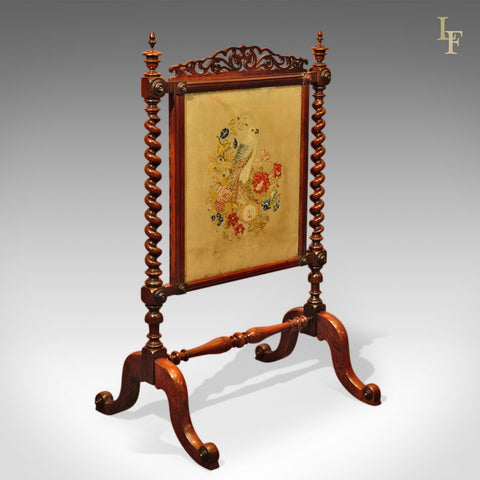 Victorian Rosewood Antique Fire Screen, c.1850 - London Fine Antiques