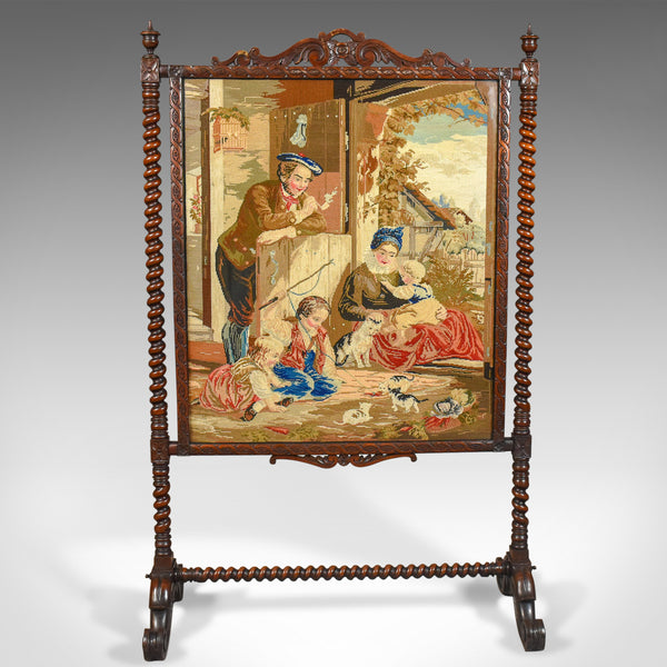 Large Antique Fire Screen, Needlepoint Tapestry Panel, Walnut Frame, Circa 1850 - London Fine Antiques