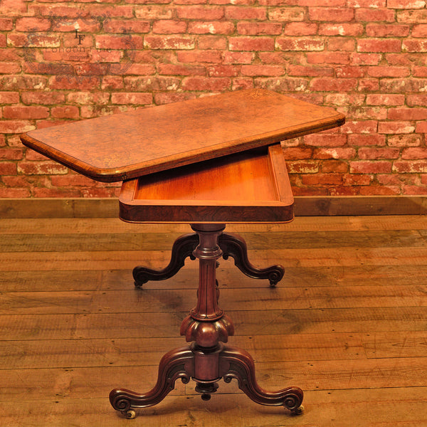 Victorian Burr Walnut Fold Over Card Table, c.1840 - London Fine Antiques - 6