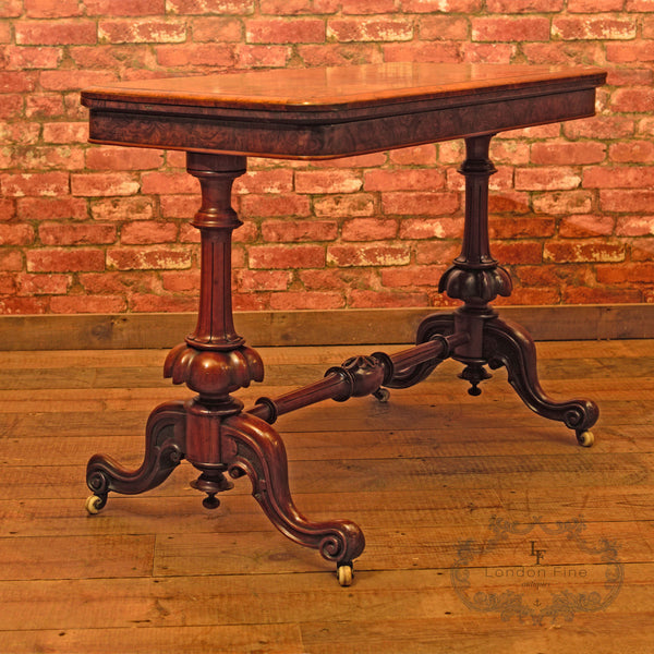 Victorian Burr Walnut Fold Over Card Table, c.1840 - London Fine Antiques