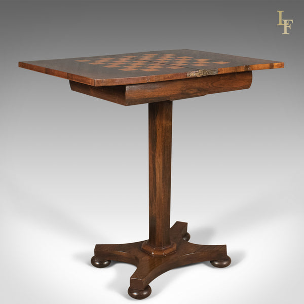 Antique Fold Over Games Table, English Regency, Chess Board, c.1820 - London Fine Antiques
