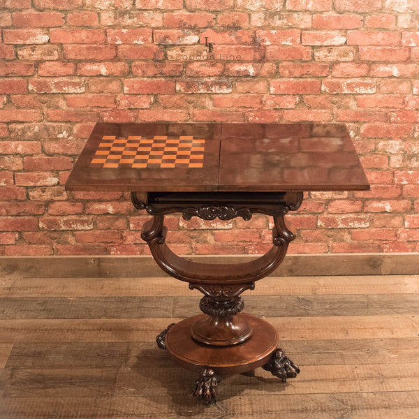 Victorian Fold Over Games Table, c.1860 - London Fine Antiques - 3
