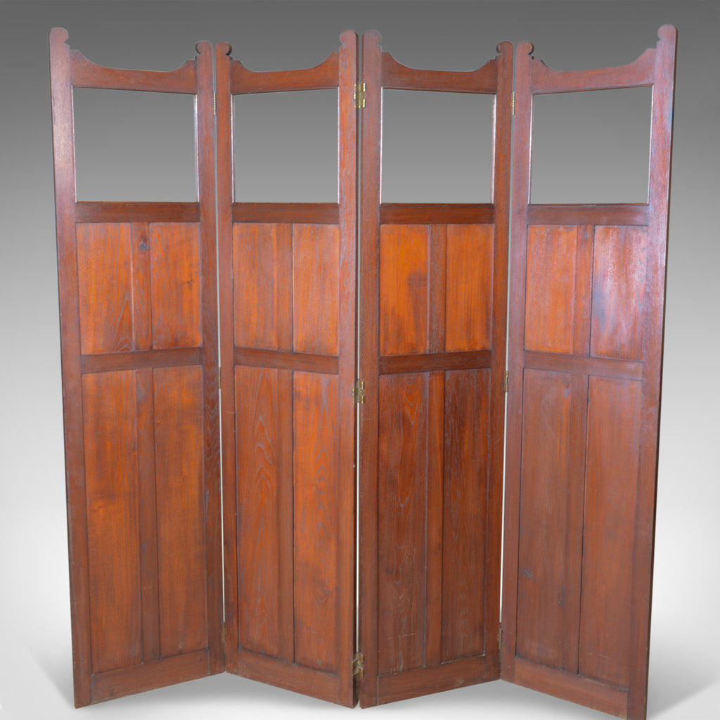 Antique Folding Screen, Edwardian, Four Panel, Walnut Room Divider, Circa 1910 - London Fine Antiques