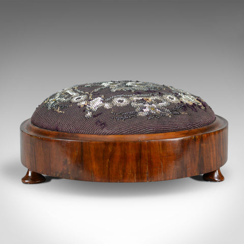 Antique Foot Stool, English, Victorian, Beadwork, Carriage Rest, Circa 1870 - London Fine Antiques