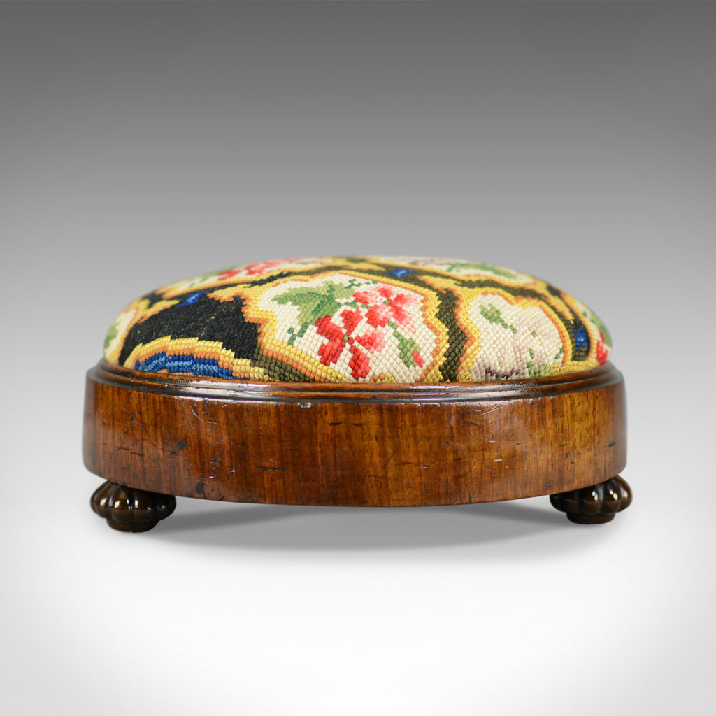 Antique Foot Stool, English, Victorian, Needlepoint, Carriage Rest, Circa 1870 - London Fine Antiques