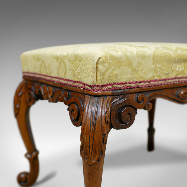 Antique Foot Stool, Mahogany, Damask Cloth, English, Victorian, Circa 1840 - London Fine Antiques