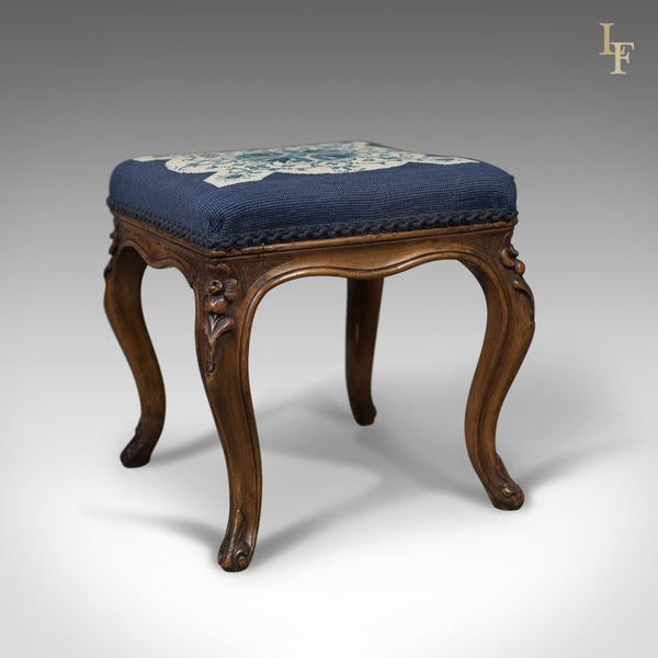 Antique Foot Stool in Walnut, Needlepoint Tapestry Cloth, English, Victorian c.1860 - London Fine Antiques
