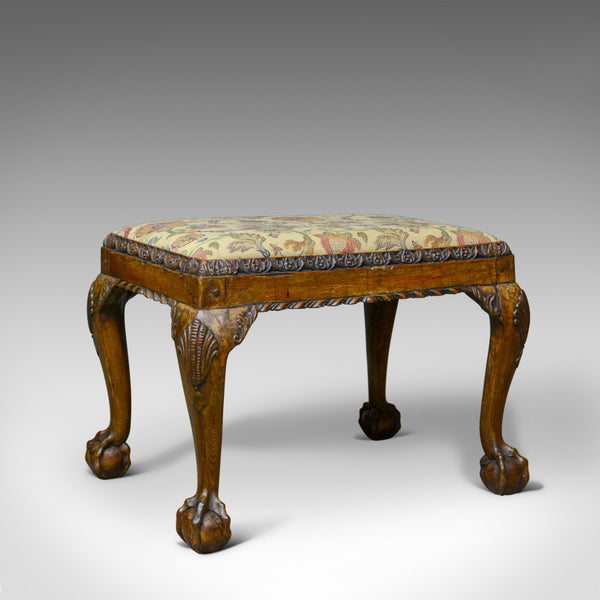 Antique Foot Stool, Walnut, Needlepoint Tapestry, English, Regency, Circa 1820 - London Fine Antiques