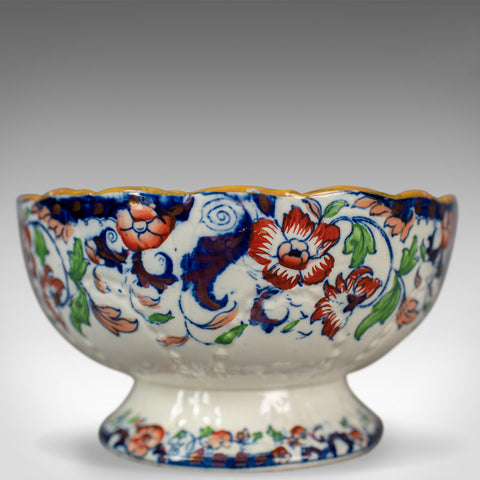 Antique Footed Bowl, Blue, White and Ochre, Amherst, Japan, Ironstone Circa 1900