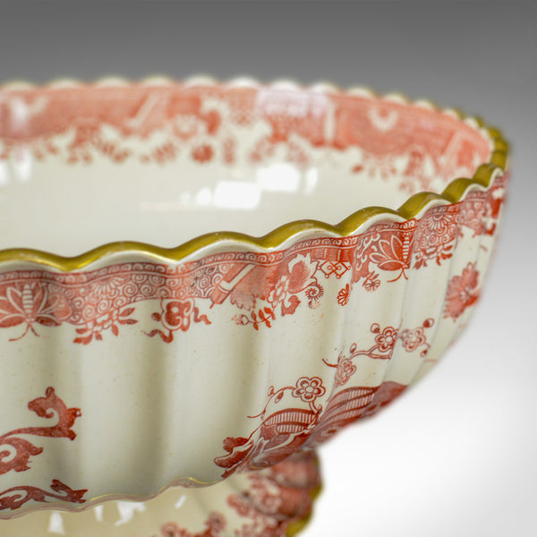Antique Footed Bowl, Red and White, Copeland Spode, Grasshopper, c.1900 - London Fine Antiques