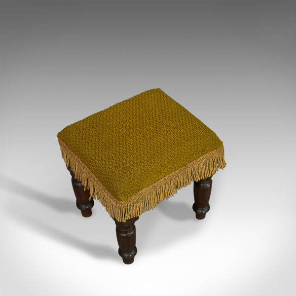 Antique Footstool, English, Mahogany, Stool, Upholstered, Victorian, Circa 1880 - London Fine Antiques