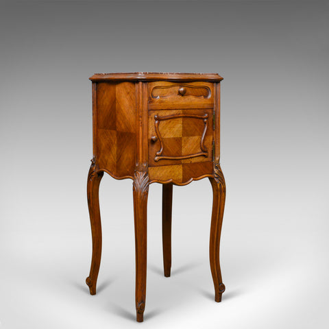Antique French Bedside Cabinet, Edwardian, Walnut, Marble, Pot Cupboard, c.1910 - London Fine Antiques