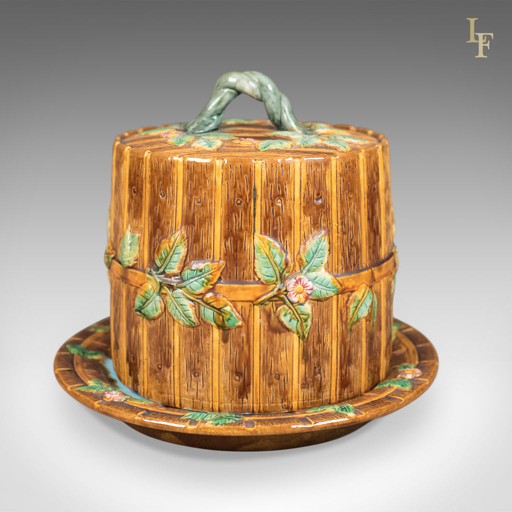 "Interpretation of George Jones Majolica Cheese Keeper, ""Fence And Vine"" - London Fine Antiques"