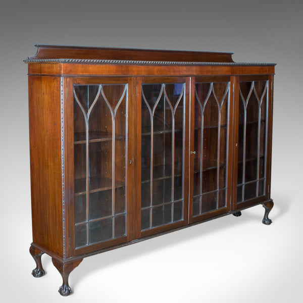 Antique Glazed Bookcase, Long, Edwardian, Mahogany, Cabinet, Gothic Circa 1910 - London Fine Antiques