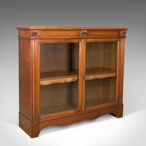 Antique Glazed Bookcase, Victorian, English, Display Cabinet, Walnut, Circa 1880