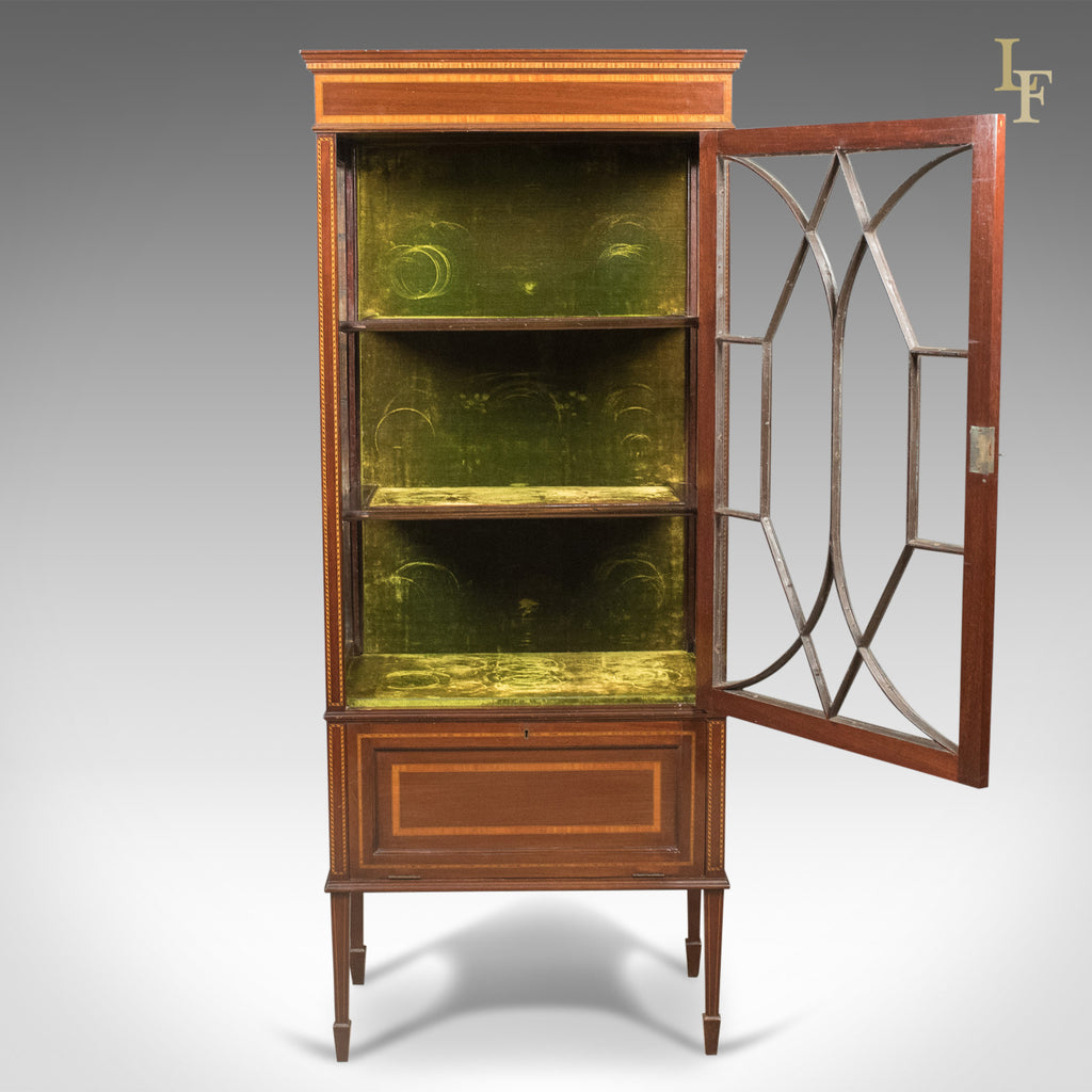 english antique display cabinet. Antique Glazed Display Cabinet, Mahogany, Edwardian, English, C.1910 - London English Cabinet P