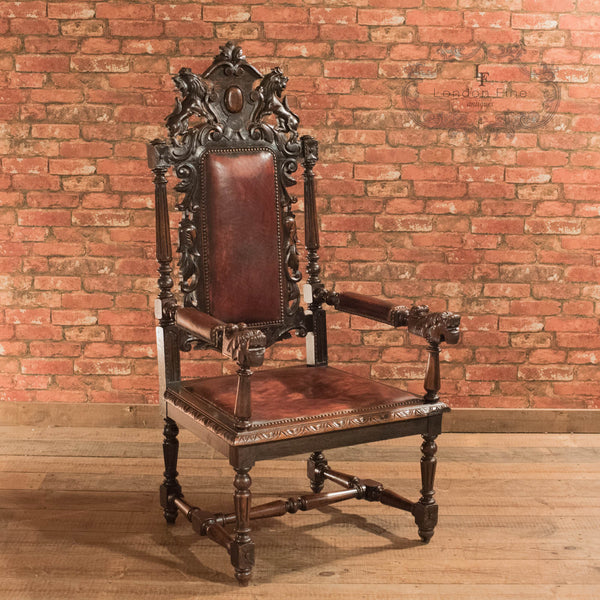Victorian Gothic Revival Oak Hall Chair, c.1880 - London Fine Antiques