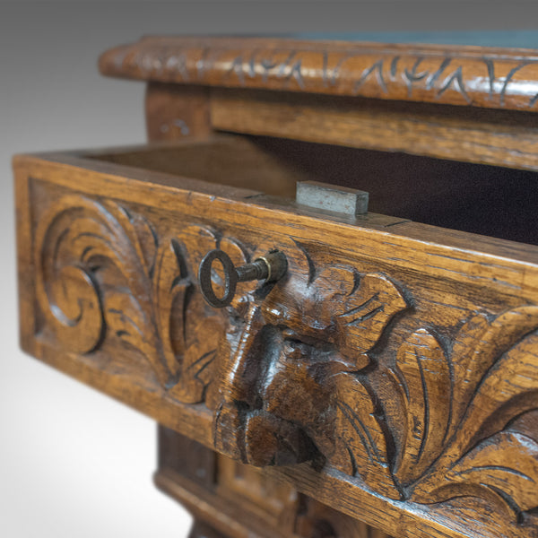 Antique Green Man Desk, English Oak, Victorian Lowboy, Writing Table Circa 1900 - London Fine Antiques