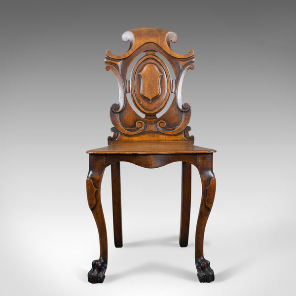 Antique Hall Chair, Scottish, Victorian, Oak, Side, 19th Century, Circa 1870 - London Fine Antiques