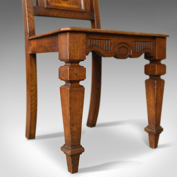 Antique Hall Chair, Oak, Scottish, Victorian, Side, 19th Century, Circa 1870 - London Fine Antiques