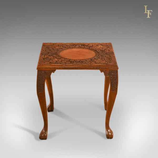 Victorian Carved Indian Tea Table, C.1900
