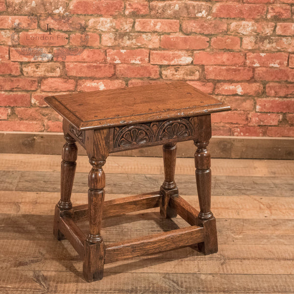 Jacobean Revival Oak Joint Stool, Victorian c.1890 - London Fine Antiques