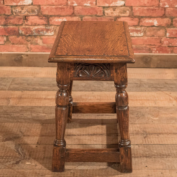 Jacobean Revival Oak Joint Stool, Victorian c.1890 - London Fine Antiques - 4