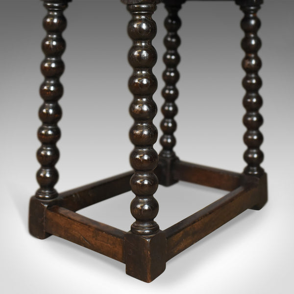 Antique Joint Stool, English, Late Georgian, Oak, Seat, Circa 1800