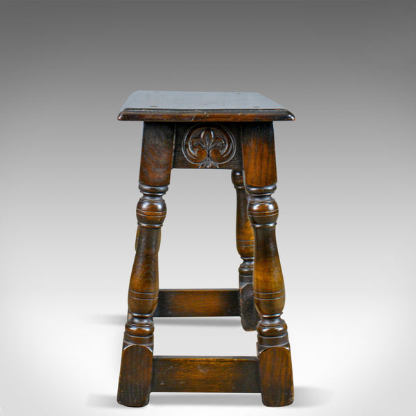 Antique Joint Stool, English, Oak, Edwardian, Jacobean Revival, Early C20th - London Fine Antiques