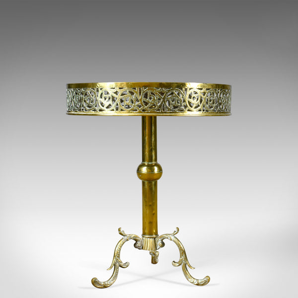 Antique Lamp Table, Edwardian, Circular, Brass, Side, Berber Circa 1910 - London Fine Antiques