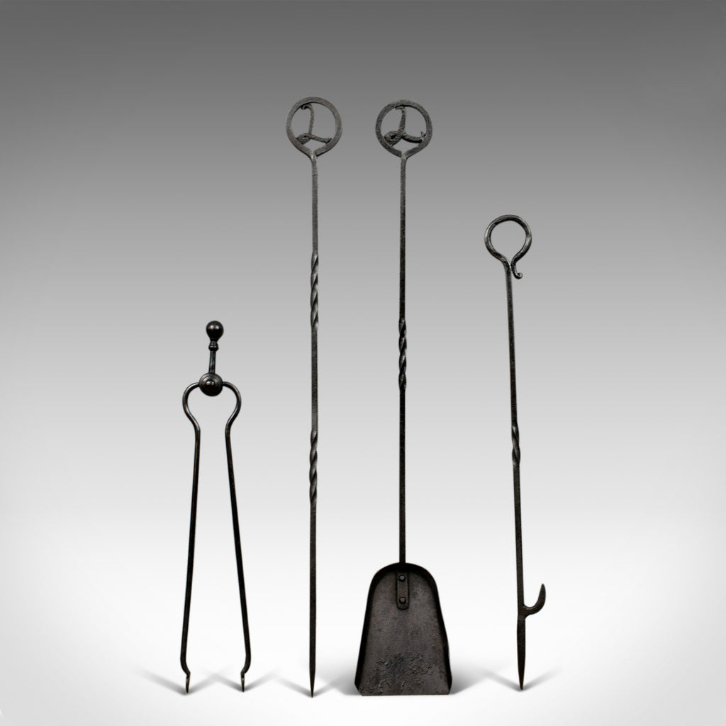 Antique Large Set of Fireside Companion Tools, Pokers, Tongs, Shovel, c.1900