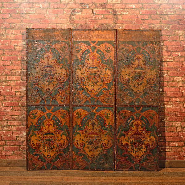 Victorian Embossed Amp Painted Leather Screen C 1851