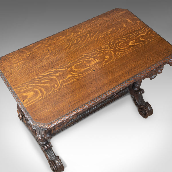 Antique Library Table, Victorian, Gothic Revival, Scottish Oak Carved Side c1880 - London Fine Antiques