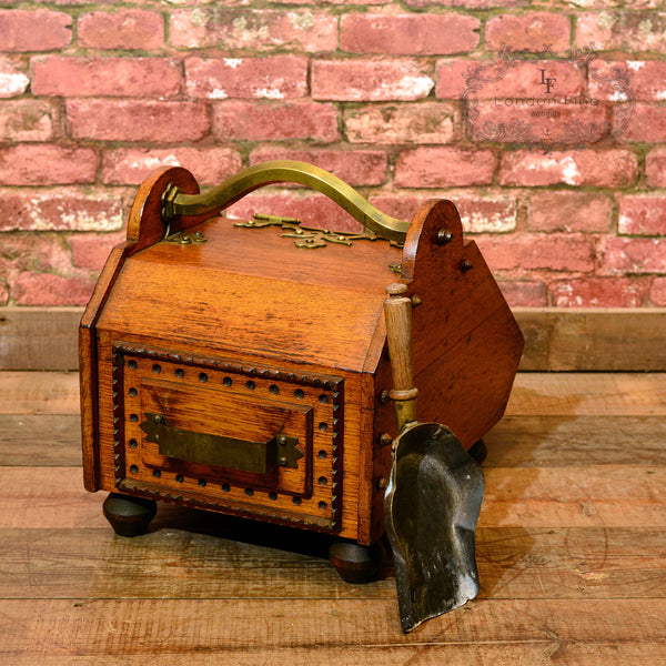 Victorian Oak Log Bin, Fireside Purdonium, c.1860 - London Fine Antiques - 4