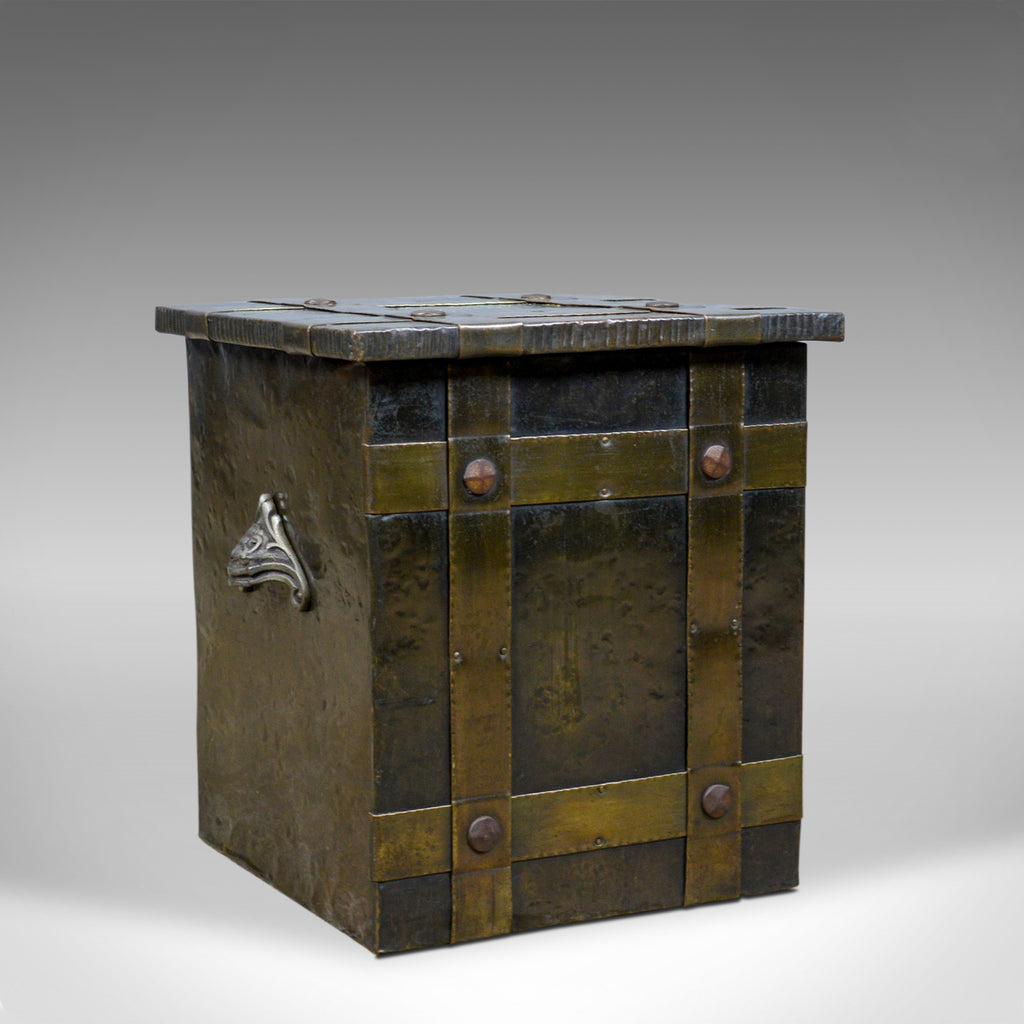 Antique Log Bin, Edwardian, Bound Metal, Fireside Box, Arts and Crafts, c.1910 - London Fine Antiques