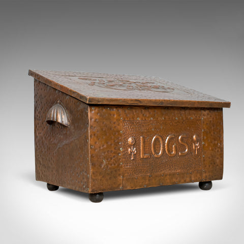 Antique Log Box, English, Art Nouveau, Fireside Scuttle, Copper, Circa 1920 - London Fine Antiques