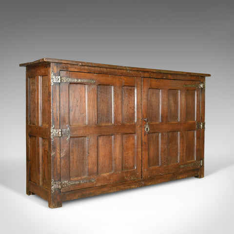 Antique Long Cupboard, Large, Heavy, Early, English, Oak, Panelled C17th & Later