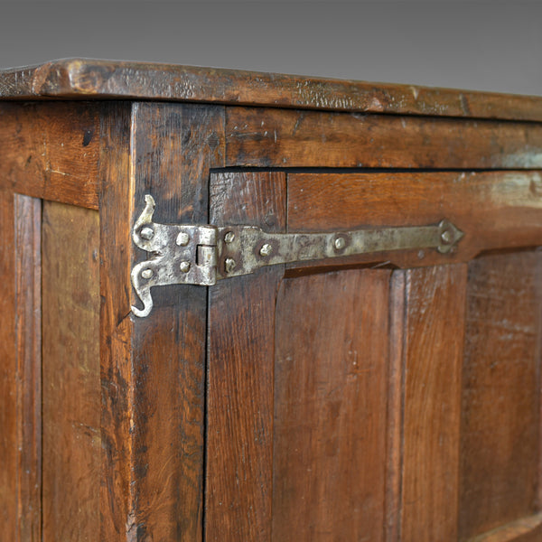 Antique Long Cupboard, Large, Heavy, Early, English, Oak, Panelled C17th & Later - London Fine Antiques