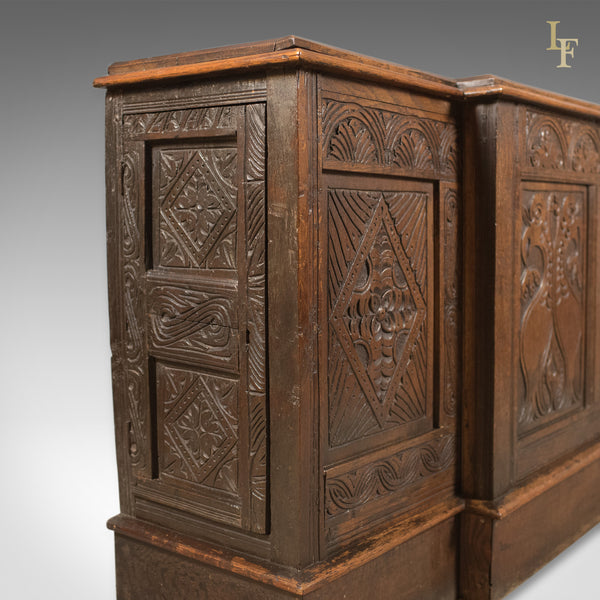 Antique Long Cupboard, c.1700 and Later English Carved Oak Dresser Base Cabinet - London Fine Antiques