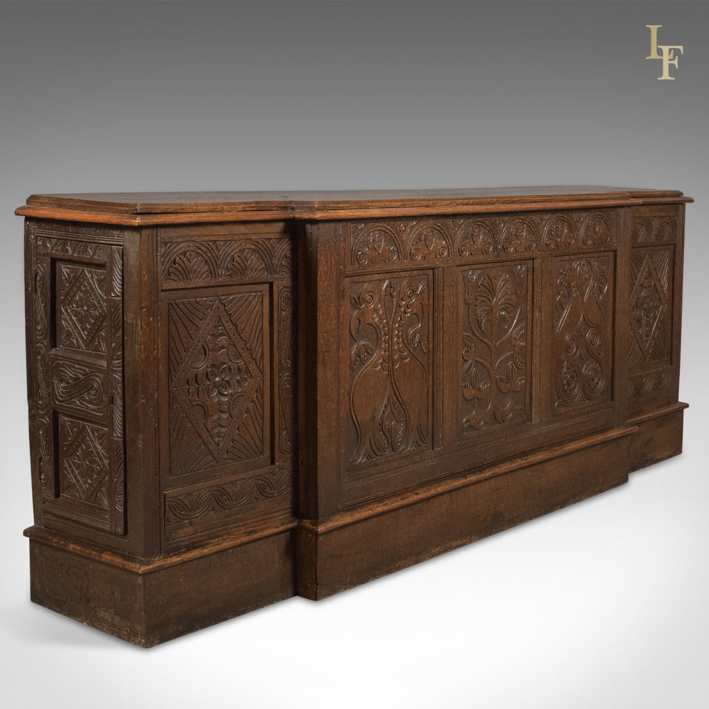 Antique Long Cupboard, c.1700 and Later English Carved Oak Cabinet ...